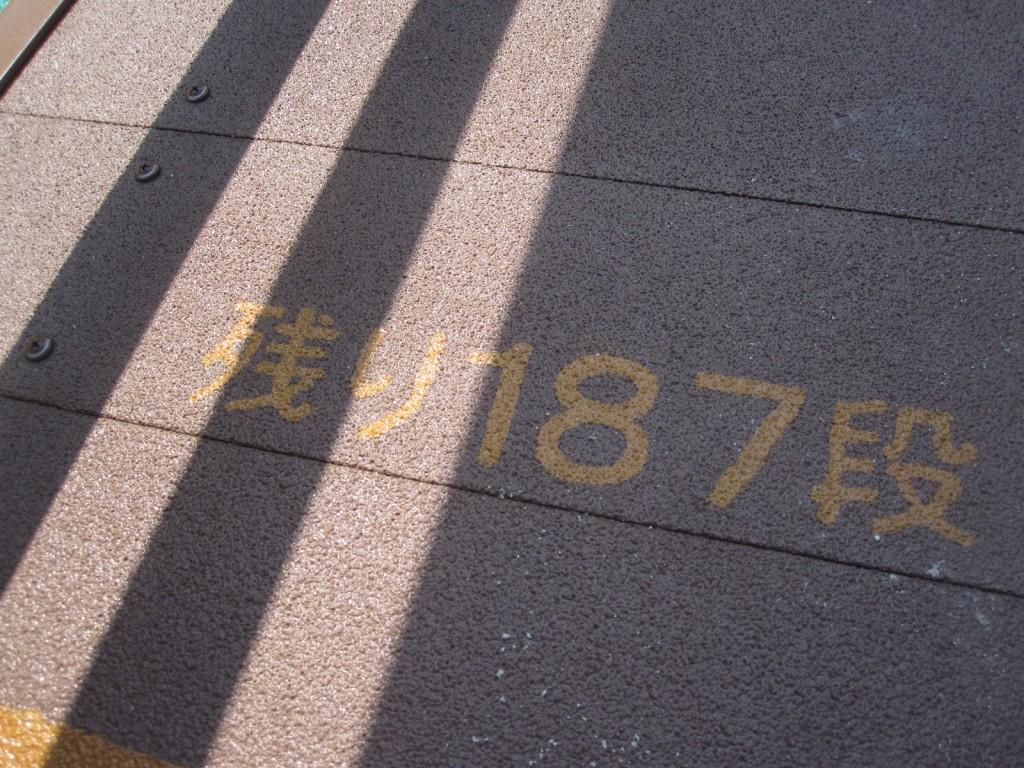 残りの階段数が表記された床