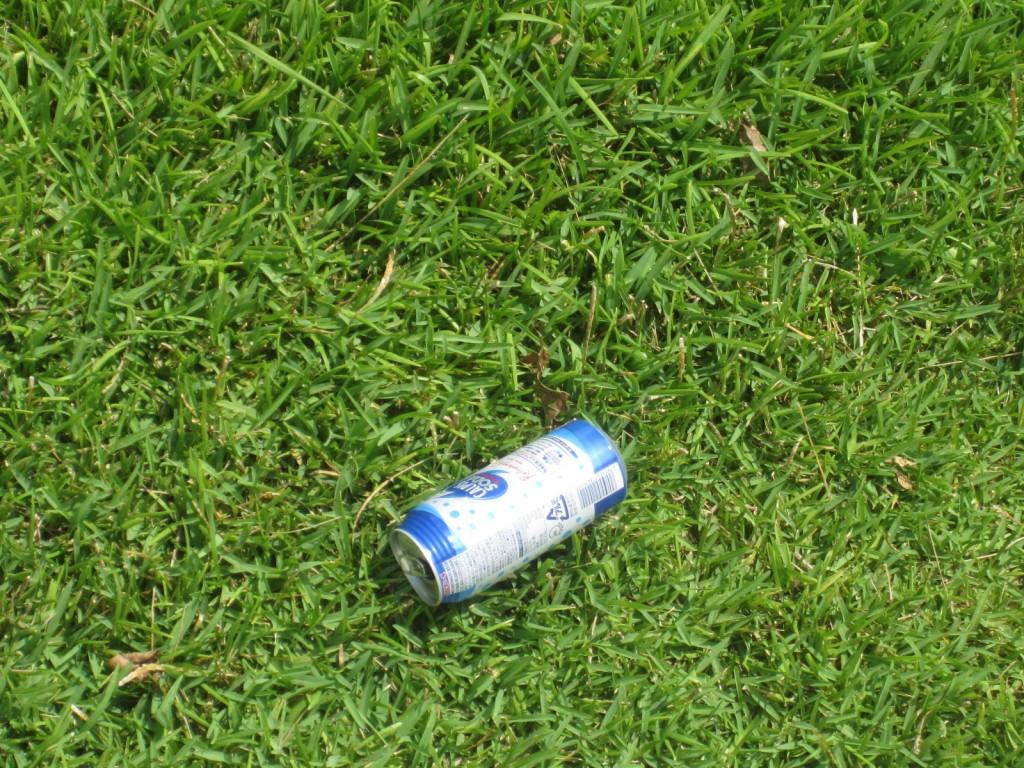 空き缶が捨てられた芝生