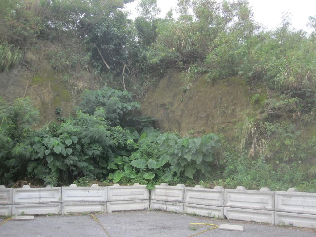 駐車場の切り立った岸壁