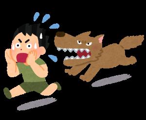 犬に追いかけられる少年