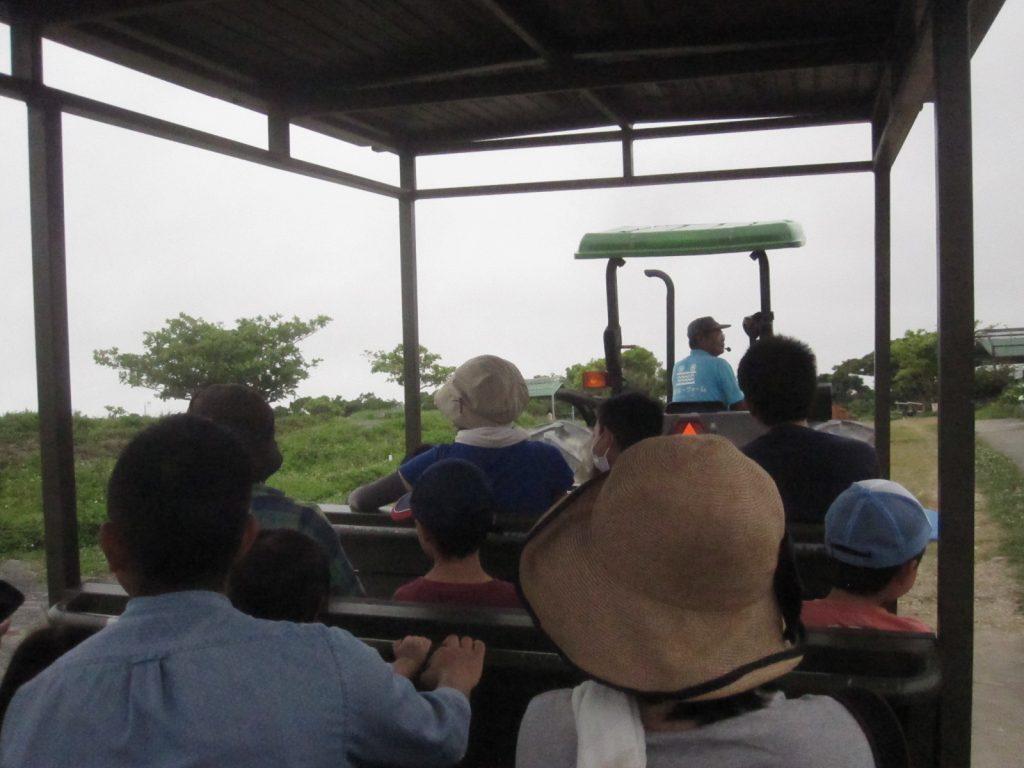 乗り放題で無料のトラクターバスに乗り込み園内を巡るツアーに出発!