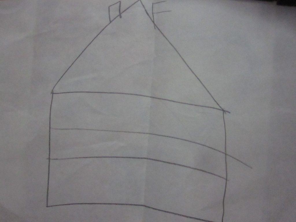 途中で描くことを諦めた家