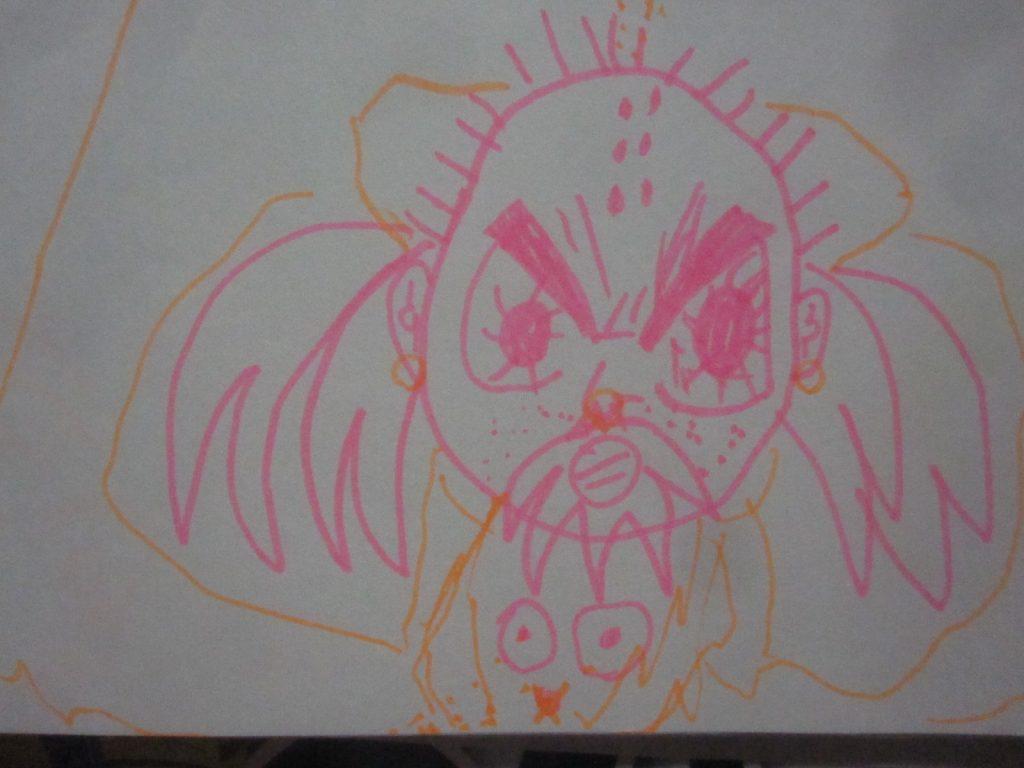 蛍光ペンで描いたモンスター?化物?お化け?の絵