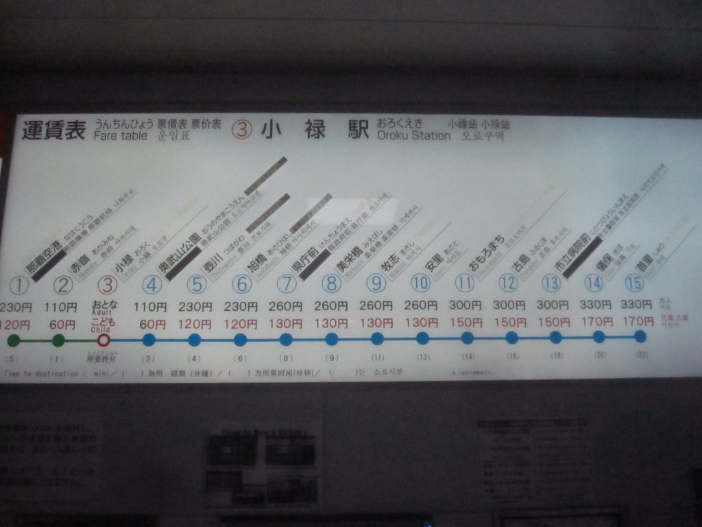 駅構内の運賃表・駅マップ