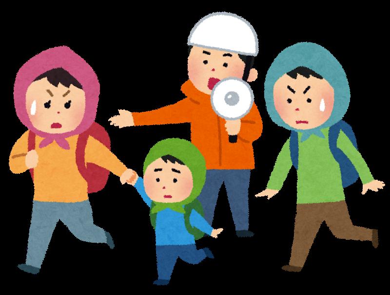 避難誘導する男性の指示に従う家族連れのイラスト