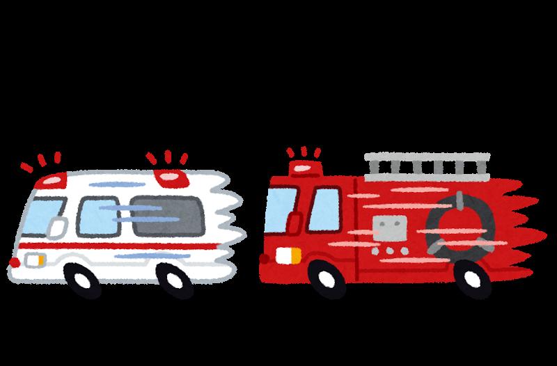 119番へ電話して救急車と消防車を要請するイラスト