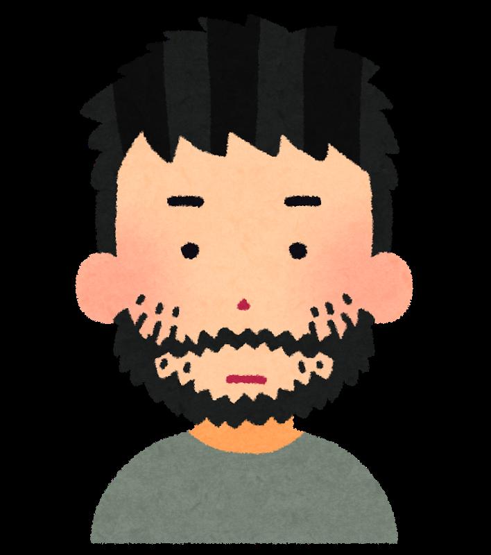 無精髭が生えた男性のイラスト
