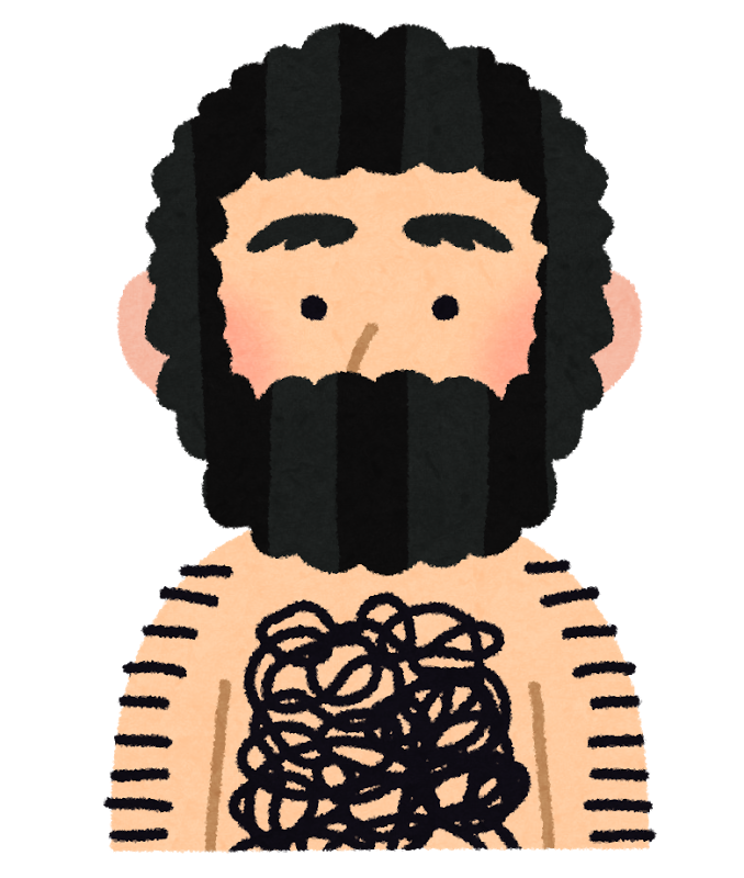 髪、ヒゲ、腕毛、胸毛など全身毛むくじゃらの男性のイラスト