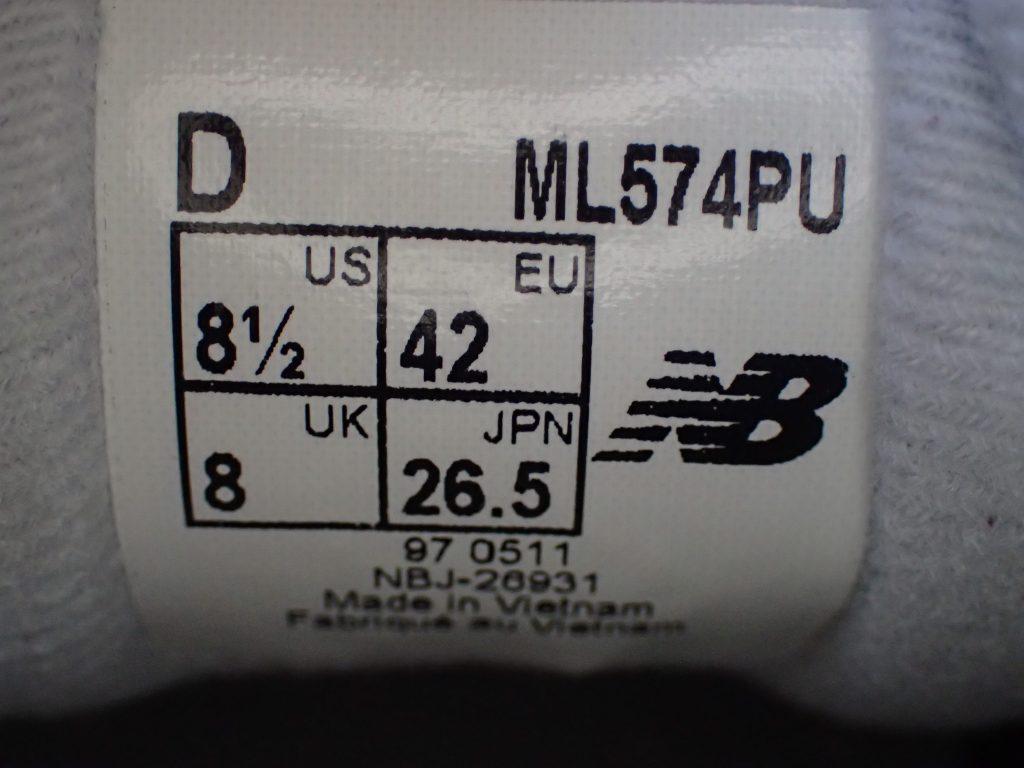 安価で履きやすいスニーカーNEW BALANCE-ML574のベロ