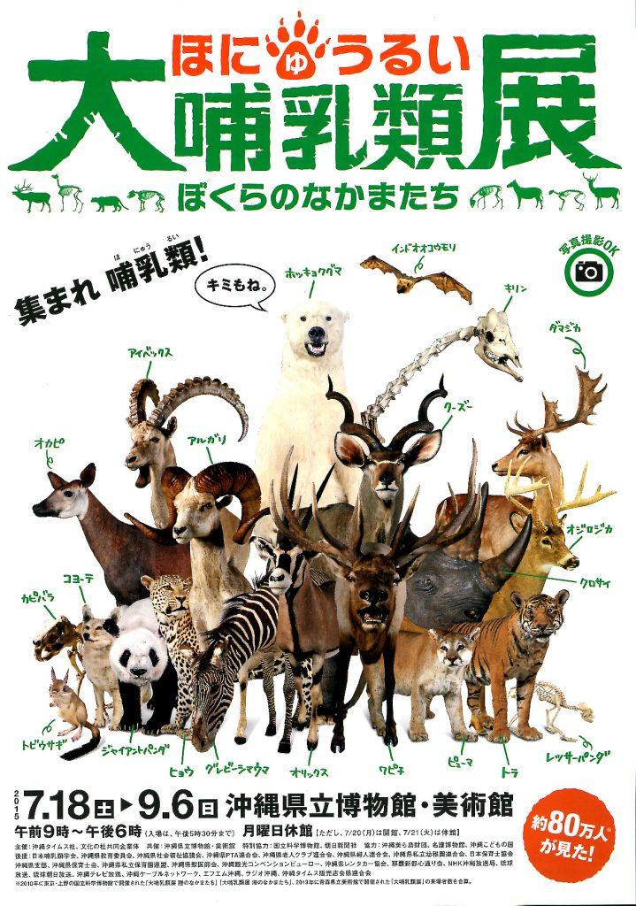 沖縄県立博物館[企画事業]「自主大哺乳類展 ぼくらのなかまたち」ポスター