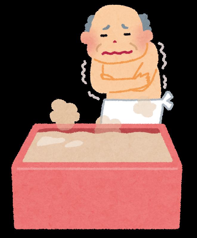 冬の浴室の寒さに震える老人のイラスト(いらすとや)