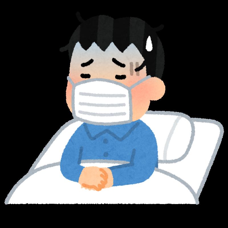 風邪を引いて寝込む男性のイラスト(いらすとや)