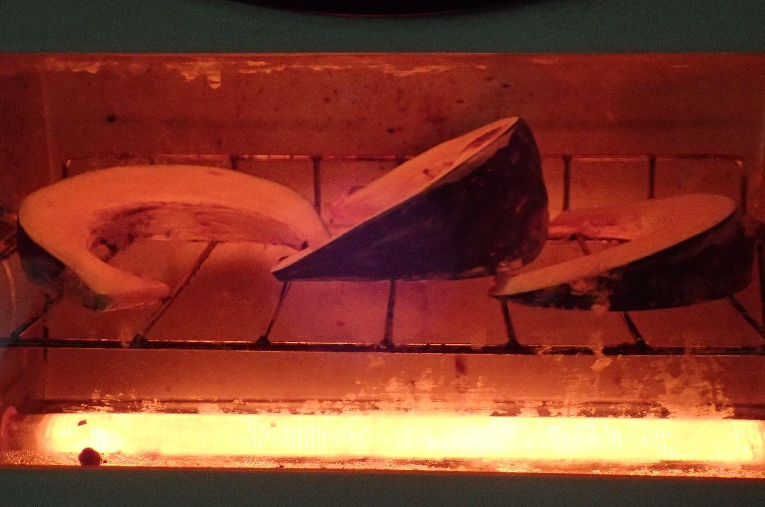 オーブントースターで約15分ほど焼く