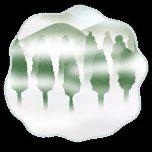 山や森に霧(もや)がかかるイラスト