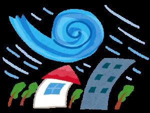 台風の暴風雨が建物を襲うイメージイラスト