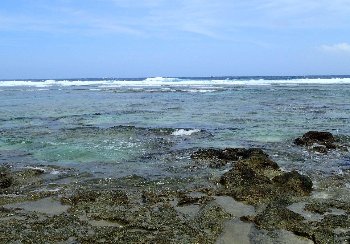 台風の影響で荒れた海・波