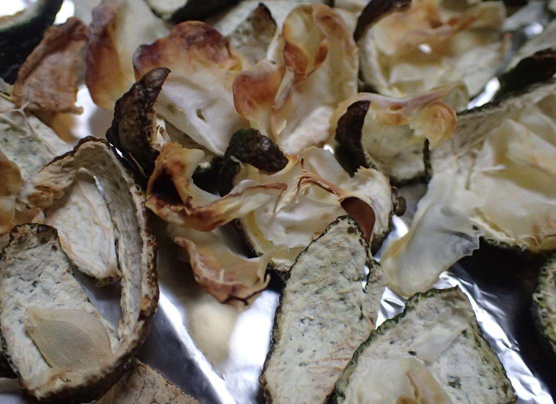 オーブントースターでチンして少しだけ焦げた皮と果肉