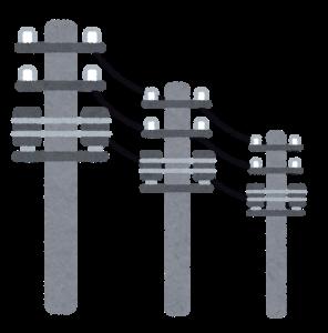 3本のワイヤが設置された電柱